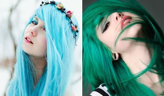 Aqua green coloured hair www.hairfashion.biz