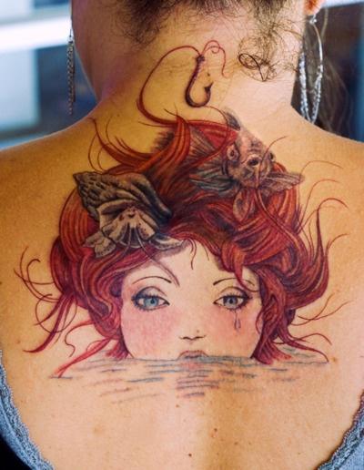 Ariel Tattoo girl red hair