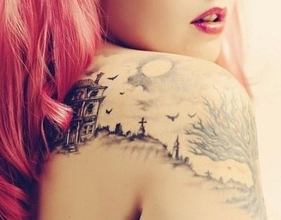 House birds scene b/w tattoo
