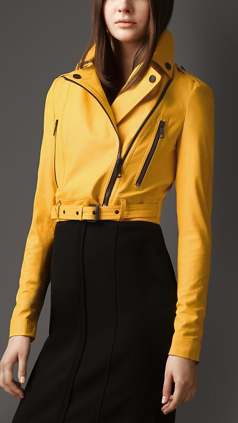 cropped lambskin biker jacket yellow www.burberry.com