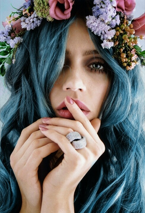 Dirty Blue Coloured hair www.pinterest.com