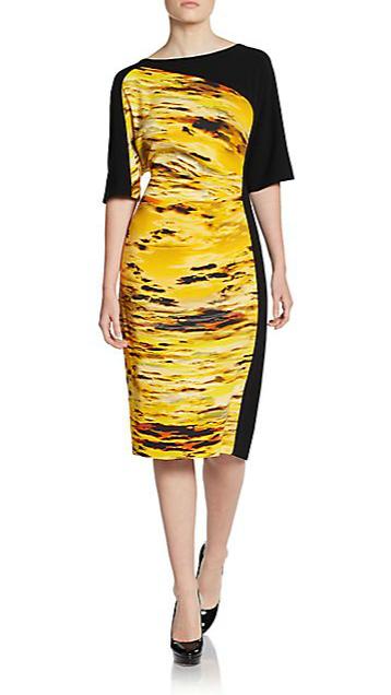 Escada Doces Asymmetrical Printed dress Mustard www.saksfifthavenue.com