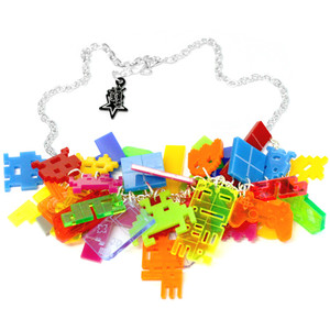 Junk necklace gamer space invaders www.polyvore.com