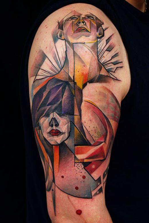 Marie Kraus tattoo colour faces