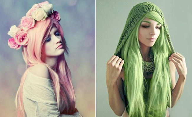 Pink green coloured hair www.latesttrendsz.com
