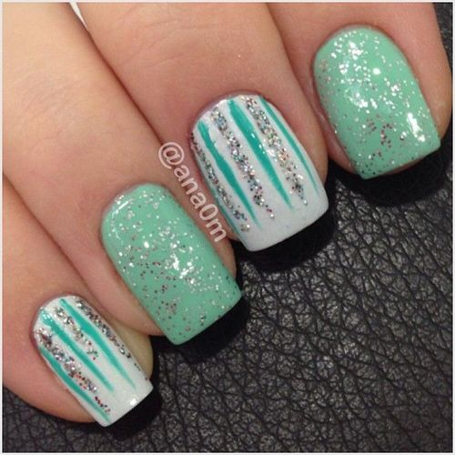 Mint Green Prom Nail: Sparkly Bling Nails