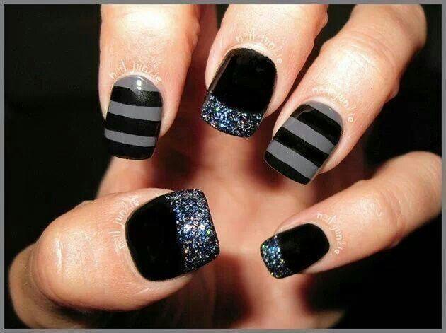 Black silver glitter nails stripes www.pinterest.com