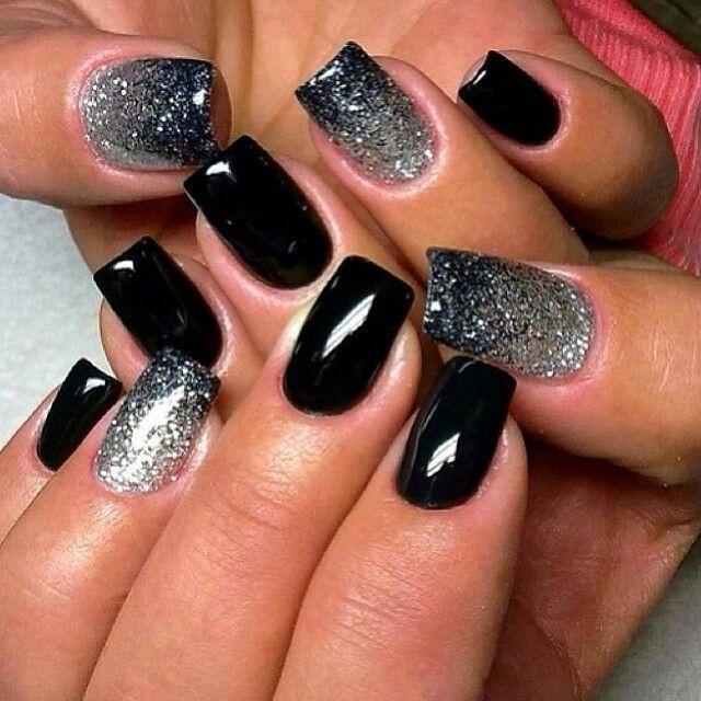 Black silver glitter nails www.pinterest.com