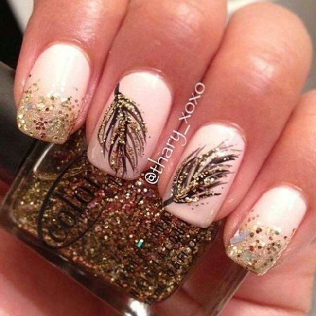 gold leaf black clear glitter nails www.pinterest.com