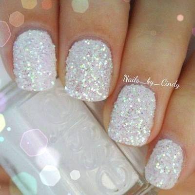 White sparkly glitter nails www.pinterest.com