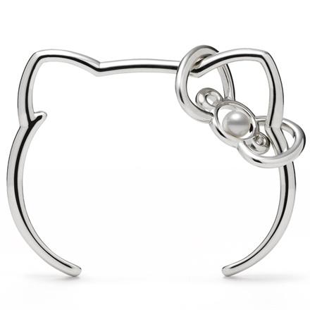 Mikimoto x Hello Kitty - Silver bangle with Akoya pearl