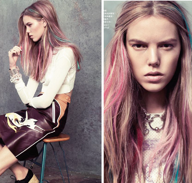 Brown And Pastel Pink Hair hair brown blue pink highlight