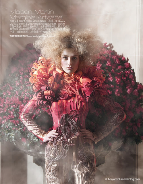 Harper's Bazaar China April 2011 Haute Couture Editorial model Marlena Szoka photographer Benjamin Kanarek Maison Martin Margiela Artisanal 002