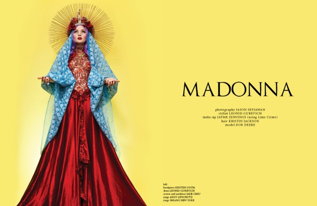 MADONNA_Leonid Gurevich_Jason Setiawan_Doe Deere_Lime Crime_GLASSbook_mdna_kristin jackson hair_church_couture_editorial_vogue_Elle_virgin mary_2014_2013