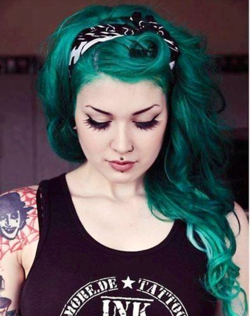 Green Hair Thetattooedgeisha