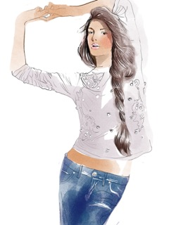 Daria  Werbowy's long hair - copie